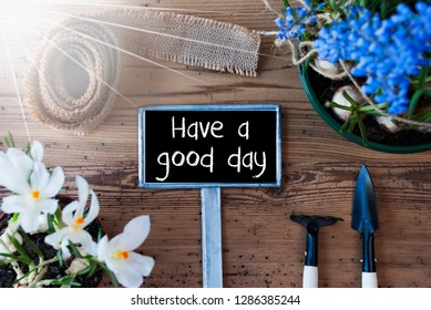 Sunny Spring Flowers, Sign, Quote Have A Good Day