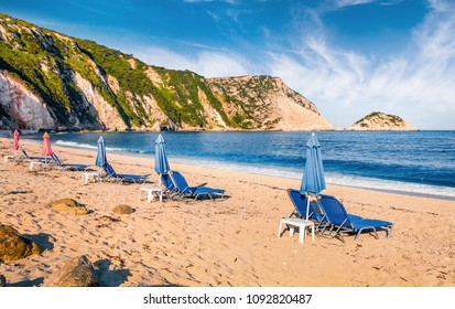 Sunny spring view of Petani Beach. Colorful morning scene of Cephalonia Island, Greece, Europe. Beautiful seascape of Mediterranen Sea. Picturesque outdoor scene of Ionian Islands.