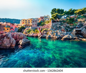 Sunny spring view of Sant' Elia village. Splendid azure water bay on Sicily, Palermo city location, Italy, Europe. Traveling concept background.
