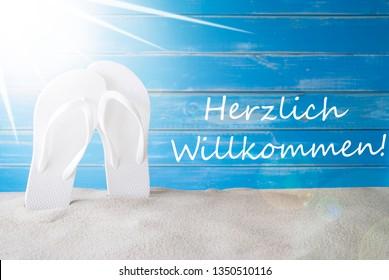 Sunny Summer Background, Herzlich Willkommen Means Welcome