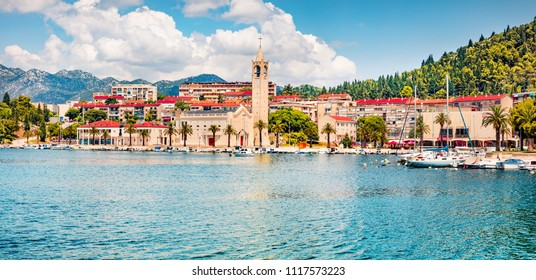 Sunny summer cityscape of Ploche city, Croatia, Europe. Bright morning seascape of Adriatic sea. Beautiful world of Mediterranean countries. Architecture traveling background.