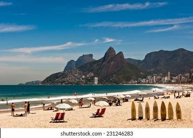Sunny Summer Day in Ipanema Beach, Rio de Janeiro, Brazil