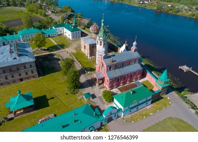 Sunny summer day over the temples of the Old-Ladoga Nikolsky Monastery (aerial photography). Staraya Ladoga, Russia