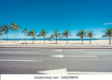Sunny summer day with Palms on Ipanema Beach,  Rio de Janeiro, Brazil.
