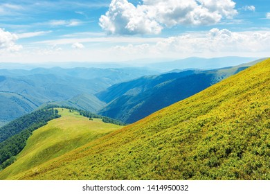 sunny summer landscape in mountains. beautiful scenery observed from the hill. clouds on a blue sky.