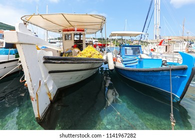 Sunny summer view of Greek port in Ionian Sea