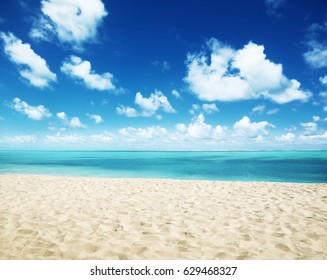 sunny tropical beach and perfect sky