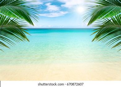 Sunny tropical beach, turquoise Caribbean sea with palm trees