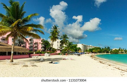 The sunny tropical Dover Beach on the island of Barbados in the Carribean