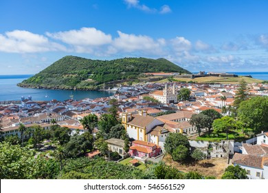 Sunny view of Angra do Heroismo from Alto da Memoria, Terceira, Azores, Portugal