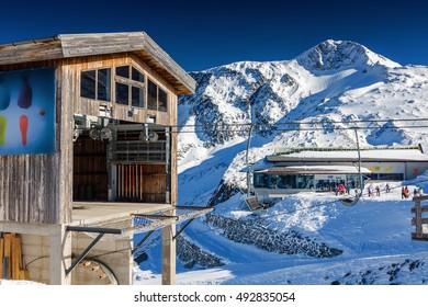 Sunny view of Austrian Alps of ski resort Zillertal Hintertuxer Glacier, Tirol, Austria.