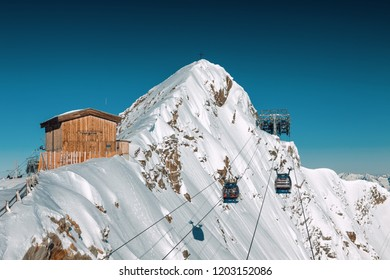 Sunny view of Austrian Alps from viewpoint of ski resort Zillertal Hintertuxer Glacier, Tirol, Austria.