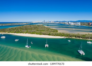 Sunny view of boats around the Spit and the Gold Coast seaway, QLD, Australia