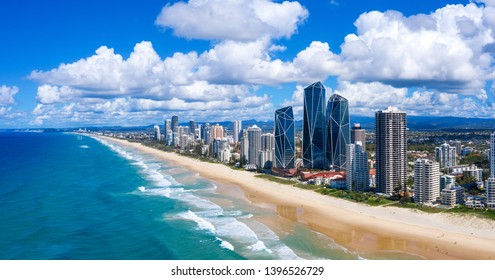 Sunny view of Broadbeach on the Gold Coast, QLD, Australia