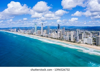 Sunny view of the City of Gold Coast on the Queensland coast, Australia