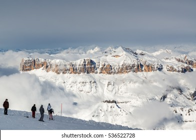 Sunny view of Dolomites from Marmolada glacier of Arabba, Trentino-Alto-Adige region, Italy.