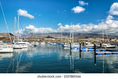 Sunny view for Las Galletas marina on Tenerife