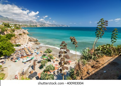 Sunny view of Mediterranean sea from viewpoint of Europe's balcony in Nerja, Andalusia province, Spain.