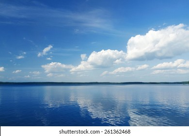 Sunny View on Blue Calm Lake