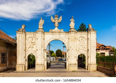 Sunny view on First Gates of Alba Carolina Citadel, Alba Iulia, Transylvania, Romania.