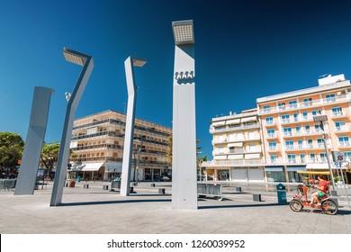 Sunny view at one of the squares of Lido di Jesolo near Venice, Veneto region, Italy.