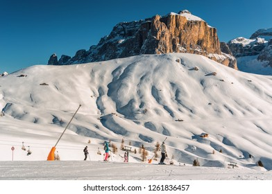 Sunny view of ski slope at Col Rodella valley near Canazei of Val di Fassa, Trentino-Alto-Adige region, Italy.