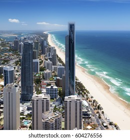 Sunny view of Surfers Paradise on Gold Coast, Queensland, Australia