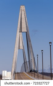 A sunny view of the William H. Natcher cable stayed suspension bridge that carries US 231 over the Ohio River between Owensboro, Kentucky and Indiana.