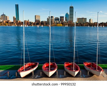 A sunny and warm spring day in Boston, Massachusetts, USA by the Charles River bed.