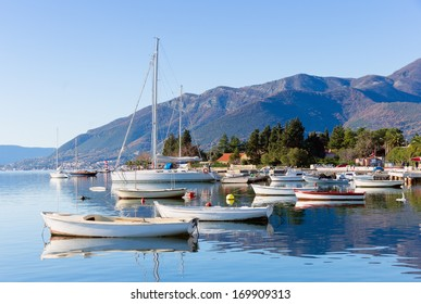 Sunny winter day. Bay of Kotor. Montenegro.