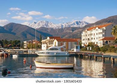 Sunny winter day. Beautiful Mediterranean landscape. Montenegro, Tivat. View of Kotor Bay near Seljanovo village