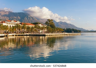 Sunny winter day. Embankment of  Tivat city, Montenegro