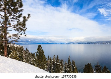 Sunny winter day at Lake Tahoe, California.