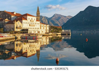 Sunny winter day in Perast town. Montenegro