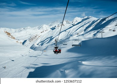 Sunny winter day, skiing area in the Paznaun valley. Location place famous ski resort Silvretta Arena Ischgl/Samnaun on the Swiss Austrian border. State of Tyrol, Europe. Discover the beauty of earth.