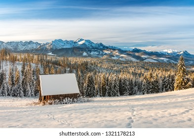 Sunny winter morning in snowy Tatra mountains