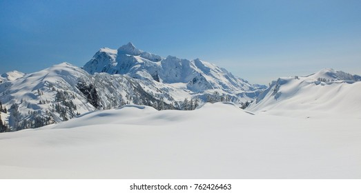 A Sunny Winter's Day on Mt Shuksan.  Artist Point, North Cascades, Washington.
