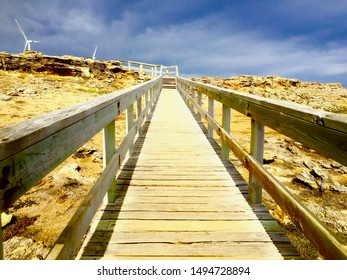 Sunny Wooden Boardwalk Beach Cliffs Path