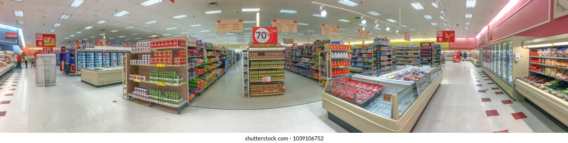SUNNYSIDE, FL - FEB. 8, 2016: Winn-Dixie supermarket, panoramic view. is an American supermarket chain headquartered in Jacksonville, Florida.