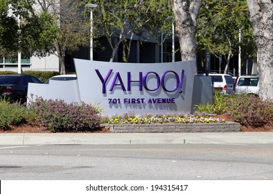 SUNNYVALE, CA � MARCH 18: The Yahoo! World Headquarters located in Sunnyvale, California on March 18, 2014. Yahoo! Inc is an American multinational internet corporation.