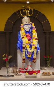 SUNNYVALE, CA- USA APRIL 2016 - Hindu god Shirdi Sai Baba idol in Hindu temple. Sai Baba was an Indian spiritual master who was and is regarded by his devotees as a saint, fakir, and sat guru.