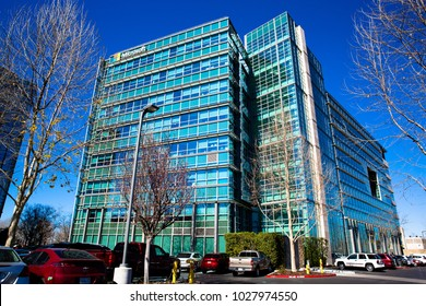 Sunnyvale, CA/ USA - Feb. 15, 2018: Microsoft Corp. Office Building Closeup. Microsoft Corp. develops, manufactures, licenses, sells computer software, consumer electronics, personal computers