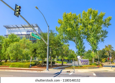 Sunnyvale, California, United States - August 12, 2018: Yahoo Inc Headquarters - Building E, 700 First Ave at N Mathilda Ave, Silicon Valley. Yahoo is one of the main search engine portals