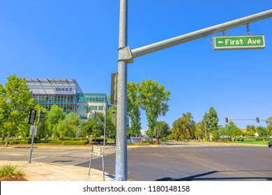 Sunnyvale, California, United States - August 12, 2018: First Ave Sign in front at Yahoo Inc Headquarters Campus, 701 1st Ave, Silicon Valley. Yahoo is one of the main search engine portals