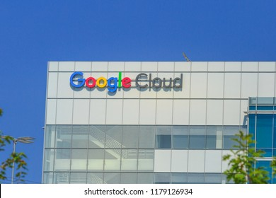 Sunnyvale, California, USA - August 12, 2018: Google Cloud sign on top of Google building. Google is a technology company leader in internet services, advertising, search engine, hardware and software