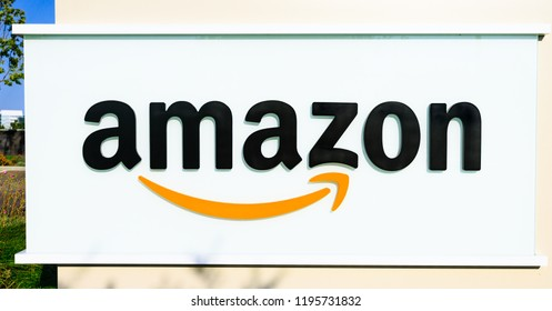 Sunnyvale, California, USA - August 13, 2018: closeup of Logo of Amazon Sign at Enterprise Way, the Big Amazon campus in Sunnyvale, Silicon Valley. Amazon is leader in electronic commerce.