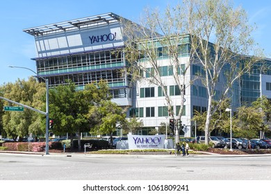 Sunnyvale, California, USA - March 29, 2018: Yahoo sign at Yahoo 's headquarters in Sunnyvale, California. Yahoo! is a web services provider that is wholly owned by Verizon Communications through Oath