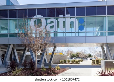 Sunnyvale, California, USA - March 29, 2018: Oath sign at Yahoo 's headquarters. Oath Inc. is a umbrella company of its digital content subdivisions, including AOL and Yahoo!.