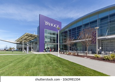 Sunnyvale, California, USA - March 29, 2018: Buildings at Yahoo 's headquarters in Silicon Valley. Yahoo! is a web services provider that is wholly owned by Verizon Communications through Oath Inc.,