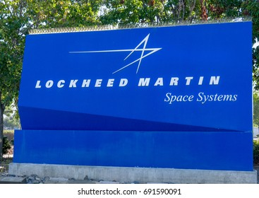 SUNNYVALE, CA/USA - JULY 29, 2017: Lockheed Martin Space Systems sign and logo. Lockheed Martin s an American global aerospace, defense, security and advanced technologies company.